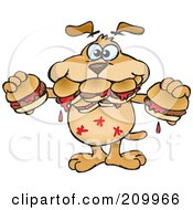 Royalty Free RF Clipart Illustration Of A Hungry Sparkey Dog Shoving Hamburgers In His Mouth