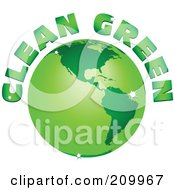 Royalty Free RF Clipart Illustration Of Clean Green Text Arching Around A Green Sparkly Globe
