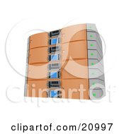 Clipart Illustration Of A Web Hosting Server Rack In Orange by 3poD