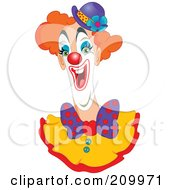 Royalty Free RF Clipart Illustration Of A Goofy Clown With An Open Mouth And Purple Hat