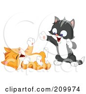 Royalty Free RF Clipart Illustration Of Two Playful Happy Kittens Playing by yayayoyo