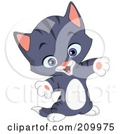 Royalty Free RF Clipart Illustration Of A Happy Gray Striped Kitten Holding His Arms Out For A Hug by yayayoyo