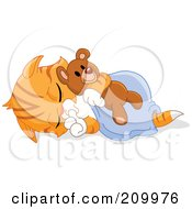 Royalty Free RF Clipart Illustration Of A Cute Orange Kitten Sucking His Thumb And Sleeping With A Teddy Bear by yayayoyo