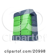 Clipart Illustration Of A Green Double Server Rack by 3poD