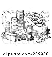 Royalty Free RF Clipart Illustration Of A Retro Black And White Stash Of Coins And Cash by BestVector