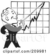 Royalty Free RF Clipart Illustration Of A Retro Black And White Businessman Discussing A Chart by BestVector