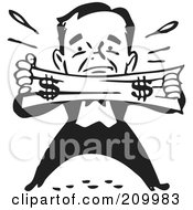 Royalty Free RF Clipart Illustration Of A Retro Black And White Man Trying To Stretch A Dollar by BestVector