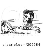 Royalty Free RF Clipart Illustration Of A Retro Black And White Man Speeding In A Car by BestVector