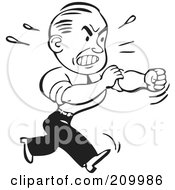 Royalty Free RF Clipart Illustration Of A Retro Black And White Businessman Rolling Up His Sleeves To Fight