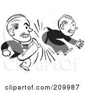 Royalty Free RF Clipart Illustration Of A Retro Black And White Businessman Kicking Another In The Butt by BestVector