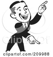 Royalty Free RF Clipart Illustration Of A Retro Black And White Businessman Pointing Down And Up by BestVector