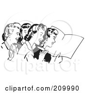 Royalty Free RF Clipart Illustration Of A Retro Black And White Women Reading A Blank Paper by BestVector