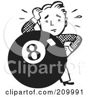 Royalty Free RF Clipart Illustration Of A Retro Black And White Man Behind An Eight Ball