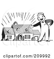 Royalty Free RF Clipart Illustration Of A Retro Black And White Man Presenting A New Home by BestVector