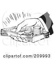 Royalty Free RF Clipart Illustration Of A Retro Black And White Hand Holding Cash And Coins by BestVector