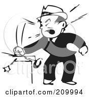 Royalty Free RF Clipart Illustration Of A Retro Black And White Businessman Banging His Fist