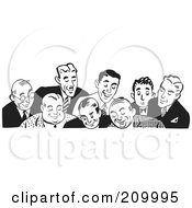 Royalty Free RF Clipart Illustration Of A Retro Black And White Border Of Businessmen Looking Down by BestVector