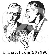 Royalty Free RF Clipart Illustration Of A Retro Black And White Businessmen Talking About An Idea by BestVector