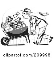 Retro Black And White Businessman Pushing A Wheel Barrow Of Cash To The Left