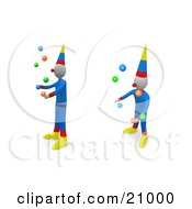 Clipart Illustration Of Two Performing Circus Clowns Entertaining The Crowd By Juggling Balls by 3poD
