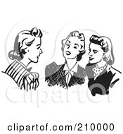 Royalty Free RF Clipart Illustration Of A Retro Black And White Women Sitting And Chatting by BestVector