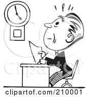 Royalty Free RF Clipart Illustration Of A Retro Black And White Businessman Trying To Finish His Work In Time