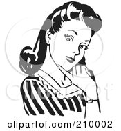 Royalty Free RF Clipart Illustration Of A Retro Black And White Woman Flirting And Touching Her Chin