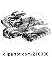 Royalty Free RF Clipart Illustration Of Retro Black And White Cars Taking Off In A Race