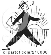 Royalty Free RF Clipart Illustration Of A Retro Black And White Businessman Whistling And Walking