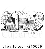 Royalty Free RF Clipart Illustration Of A Retro Black And White Architect Presenting A House by BestVector