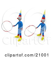 Two Circus Clowns Entertaining The Crowd With Hoop Tricks