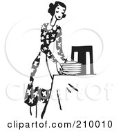 Retro Black And White Woman In An Apron Setting A Table