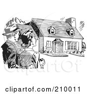 Royalty Free RF Clipart Illustration Of A Retro Black And White Couple Gazing At A House by BestVector