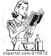 Retro Black And White Woman Baking And Reading A Cook Book