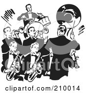 Royalty Free RF Clipart Illustration Of A Retro Black And White Conductor Leading A Band Of Men