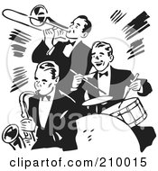 Royalty Free RF Clipart Illustration Of A Retro Black And White Band Of Three Gentlemen Playing A Trumpet Saxophone And Drums by BestVector