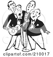 Royalty Free RF Clipart Illustration Of A Retro Black And White Quartet Of Singing Men With A Banjo