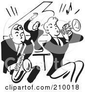 Retro Black And White Band Of Men Playing A Sax Piano And Trumpet