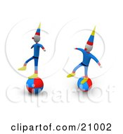 Two Performing Circus Clowns Balancing On Balls