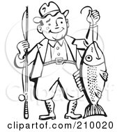 Royalty Free RF Clipart Illustration Of A Retro Black And White Man Proudly Holding His Catch