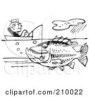 Royalty Free RF Clipart Illustration Of A Retro Black And White Man Sitting In A Boat And Catching A Giant Fish by BestVector