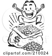 Royalty-Free (RF) Clipart Illustration of a Retro Black And White Man Jumping Over A Sack Of Money by BestVector #COLLC210024-0144
