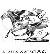 Royalty Free RF Clipart Illustration Of Retro Black And White Jockeys Racing