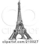 Royalty Free RF Clipart Illustration Of A Retro Black And White Styled Eiffel Tower by BestVector #COLLC210027-0144