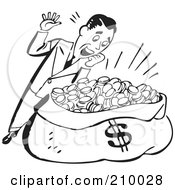 Royalty Free RF Clipart Illustration Of A Retro Black And White Man Standing Over A Sack Of Money
