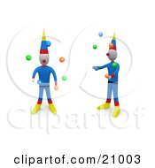 Two Entertaining Circus Clowns Juggling Balls