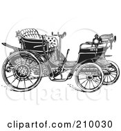 Royalty Free RF Clipart Illustration Of A Retro Black And White Styled Car