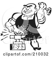 Royalty Free RF Clipart Illustration Of A Retro Black And White Blacksmith Hammering Iron Against An Anvil by BestVector