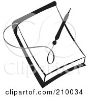 Royalty Free RF Clipart Illustration Of A Retro Black And White Pen Over A Blank Note Pad by BestVector