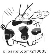 Royalty Free RF Clipart Illustration Of A Retro Black And White Hand Inserting A Coin Into A Spotted Piggy Bank by BestVector